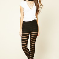 Mesh-Striped Leggings