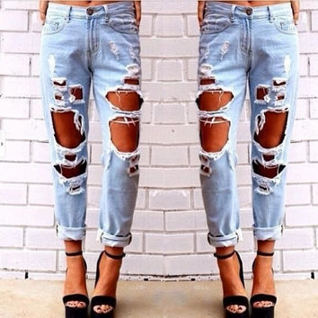 New Womens vintage Skinny Faded Ripped Casual Slim Fit Cool Denim Cotton Jeans = 1930500676