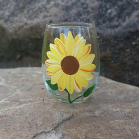Sunflower hand-painted stemless wine glass