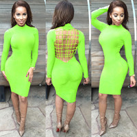Light Green Long Sleeve Strappy Cut-Out Back Bodycon Midi Dress