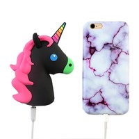 2000 mAh Portable Power Bank Phone Charger - Black Unicorn