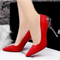 Sexy Women Shoes Red Bottom High Heels Faux Suede Party Pointed Toe High Heel Pumps Ladies Wedding Shoes Bride Office Heels shoe