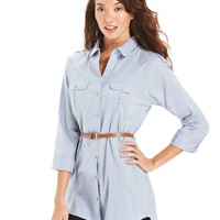 Planet Gold Juniors Top, Three-Quarter Sleeve Belted Tunic - Juniors Tops - Macy's