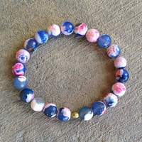 "Blue pink agate ""Dream"" mala bracelet"