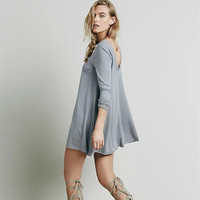Fashion Hollow Bandage Loose Backless Long Sleeve Solid One Piece Dress  _ 9735