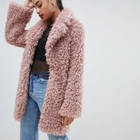 PrettyLittleThing shaggy teddy oversized coat in pink | ASOS