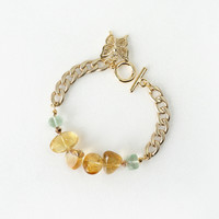Bright Yellow Citrine Crystal Gemstone Bracelet, Fluorite Stone Beads and Butterfly Charm