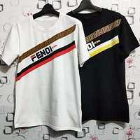 FENDI Hot Sale Fashion Women Men Leisure Print Short Sleeve Round Collar T-Shirt Top Black