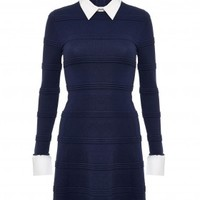 alice + olivia | TEXTURED DRESS WITH COLLAR
