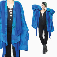 80s Draped Watercolor Blouse Blue Floral Print Cardigan Draped Blazer Scarf Lightweight Jacket Slouchy Plus Size Open Front Jacket (XL)