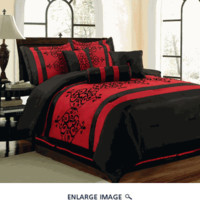 11 Piece Queen Catherine Flocking Black and Red Bed in a Bag Set