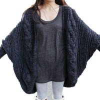 Women's Loose Thick Wool Sweater Batwing Sleeve Knit Cardigan Jacket Coats PY5