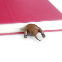 Dachshund in the Book Handsculpted Clay Bookmark
