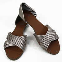 Packing Light Silver Strappy Flat Sandals