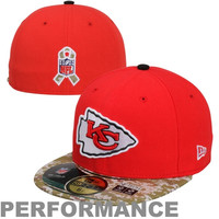 New Era Kansas City Chiefs Salute to Service On-Field 59FIFTY Fitted Hat – Red/Digital Camo