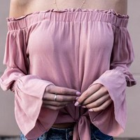 Pink Plain Boat Neck Long Sleeve T-Shirt