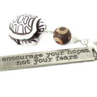Turtle Keychain with Mystical Eye Bead and Inspirational Quote