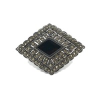Art Deco Onyx and Marcasite Brooch, Sterling Silver Pin Diamond Shaped, Vintage Silver Jewelry with Gemstone