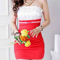 Strapless Red Color Block Mini Dress