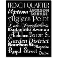 New Orleans City Subway Sign Art  Destination Typography Print 8x10 Black and White