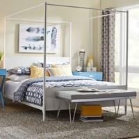 Twin Size Modern Classic White Metal Canopy Bed