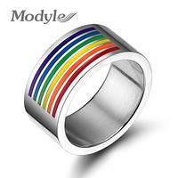 New Fashion Never Fade Men And Women Rainbow Gay Pride Stainless Steel Rings For Women