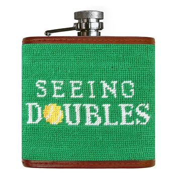 Seeing Doubles Needlepoint Flask by Smathers & Branson