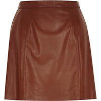 River Island Womens Brown leather-look mini skirt