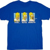 The Simpsons Homer D'oh Nuts Donuts T-Shirt - The Simpsons -   TV Store Online