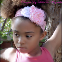 """Pink Lace Headband, """"Think Pink"""" Hair Accessory For Baby Girls, Little Girls, Toddler Girls,"""