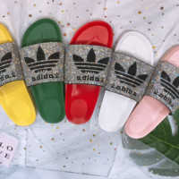 Copy of Adidas New  Summer Fashion Clover shining Diamond Slipper Female shoes Five color