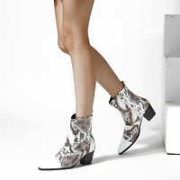 Pointed Low Heel Short Boots Thick Heel Ankle Boots