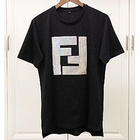 Fendi Fashion New Sequin Letter Women Men Top T-Shirt Black