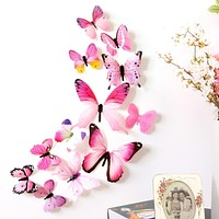 Wall Stickers 12pcs Decal Wall Stickers Home Decorations 3D Butterfly Rainbow