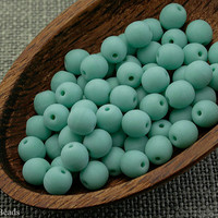 6mm Opaque beads, Frosted turquoise, Czech round, Blue glass - 35pc