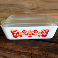 Pyrex Friendship Large Refrigerator Dish # 503 and Lid Friendship Bird Pennsylvania Dutch Red Rooster