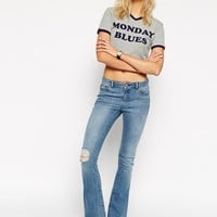 ASOS Flip Flop Flare Jeans In Light Wash With Raw Hem