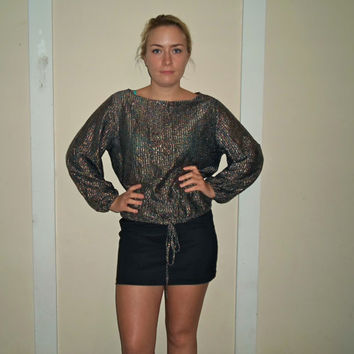80s Colorful Glitter Metallic Drawstring Long Sleeve Shirt, Sparkle Gray Top