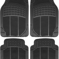 Heavy Duty Black  Weather Rubber Floor Mats 4pc Set Semi Custom Fit