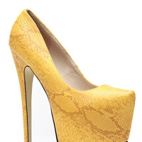 Faux Snake Skin Yellow Pointed Almond Toe Pumps