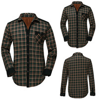 Plaid Print Fleece Button Down Shirt