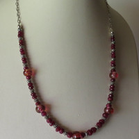 Jewelry, Handmade Necklace, Rubies, Lampwork Beads, Sterling Silver, Statteam