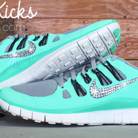 Women's Blinged Out Nike Free 5.0+ Running Shoes By Glitter Kicks - Hand Customized With Swarovski Crystal Rhinestones - Mint/Gray/Black *Damaged Box