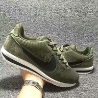 """""""NIKE""""Cortez Forrest gump Casual Running Sport Shoes Sneakers knit Army green black hook"""