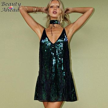 Hot Sale Women Sequin Halter Tie Bandage Neck Backless Dress 2016 Sexy Brand Strap Shiny Clubwear Mini Dress Vestido Plus Size