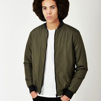 The Idle Man Padded Bomber Jacket Green