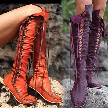 Women Medieval Retro Tall Tube Lace Up Leather Shoes British Style Men Carnival Elf Party Knight Hunter Performance Cosplay Boot