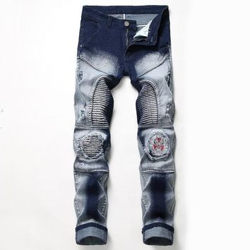 Stretch Ripped Holes Strong Character Men's Fashion Jeans [3444985299037]
