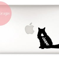 Long-haired Cat Decal - customizable pet name - macbook, laptop, iphone, car window - custom size and color - vinyl sticker - pet lover