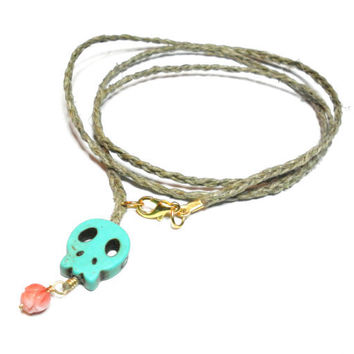 Hemp triple wrap braided friendship bracelet - turquoise skull bead rose carved coral bead gold plated wire free people inspired